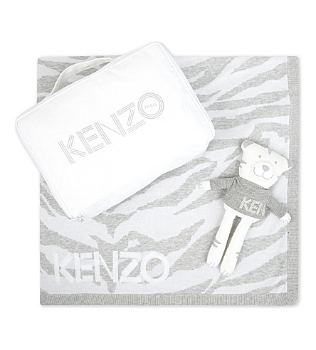 KENZO Tiger teddy and blanket set (White