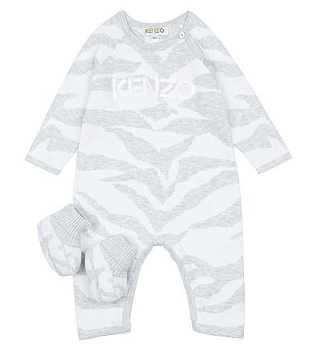 KENZO Tiger stripe-print cotton baby set 1-6 months (White