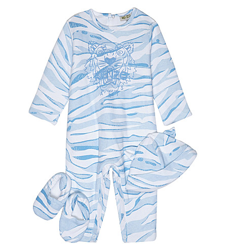 KENZO Tiger print cotton baby outfit set three pieces 1-12 months (Blue
