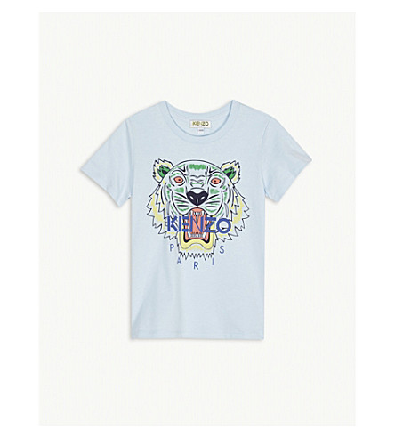 KENZO Tiger-print cotton T-shirt 2-3 years (Baby+blue