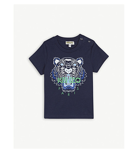 KENZO Tiger logo cotton T-shirt 3-36 months (Navy