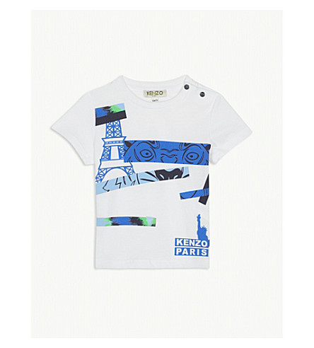 KENZO Printed cotton t-shirt 3-36 months (White