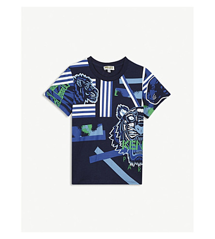 KENZO Tiger & friends cotton T-shirt 2-3 years (Navy