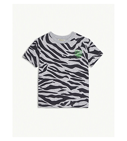 KENZO Tiger print cotton T-shirt 2-3 years (Marled+grey