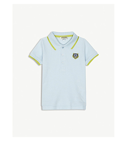 KENZO Tiger-badge cotton-piqué polo shirt 3-18 months (Baby+blue
