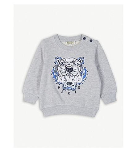 KENZO Tiger motif cotton sweatshirt 3-36 months (Marled+grey