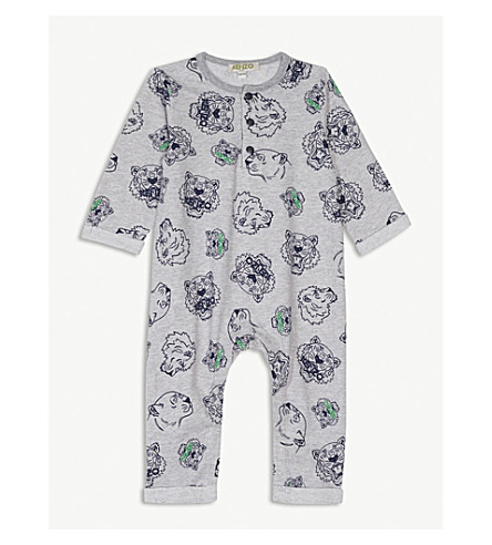 KENZO Tiger-print cotton all-in-one (Marled+grey