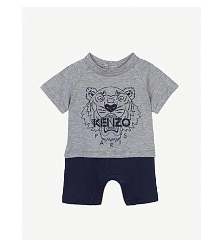 KENZO Tiger print cotton babygrow 3-18 months (Marled+grey