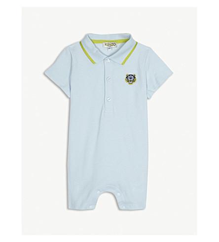 KENZO Tiger-badge cotton-piqué polo romper 3-18 months (Baby+blue