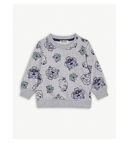 KENZO Tiger-print cotton jumper 3-18 months (Marled+grey