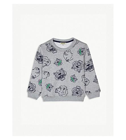 KENZO Tiger print cotton sweatshirt 2-3 years (Marled+grey