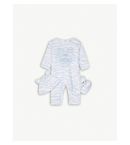 KENZO Tiger print cotton gift set 3-9 months (Baby+blue