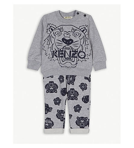 KENZO Logo cotton tracksuit 12-36 months (Marl+grey