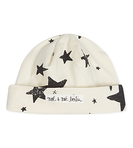 NOE AND ZOE Star cotton hat 3-6 months (Black+star