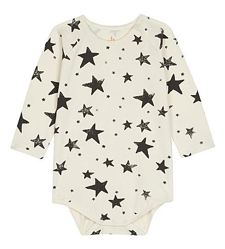 NOE & ZOE Star cotton baby-grow 0-18 months (Black+star