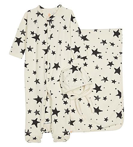 NOE & ZOE Star three-piece cotton gift set 0-12 months (Black+star