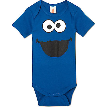 LOGOSHIRT Cookie Monster babygrow 0-24 months (Blue