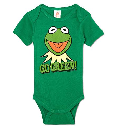 LOGOSHIRT Kermit go green babygrow 0-24 months (Green