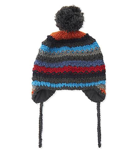 BARTS BV Skeely striped knitted pompom hat (Dark+heather