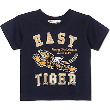 NIPPAZ WITH ATTITUDE Easy Tiger t-shirt 1-2 years (Navy/orange