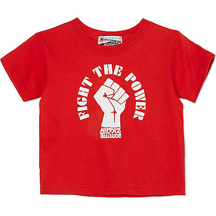 NIPPAZ WITH ATTITUDE Fight The Power t-shirt 1-2 years (Red/white