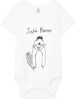 BLACK SCORE Justin Beaver baby-grow 0-18 months