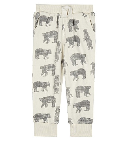THE LITTLE TAILOR Zig-zag printed cotton jogging bottoms 0-36 months (Bz+cream+bear