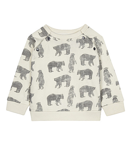 THE LITTLE TAILOR Zig-zag printed cotton sweatshirt 0-36 months (Bz+cream+bear