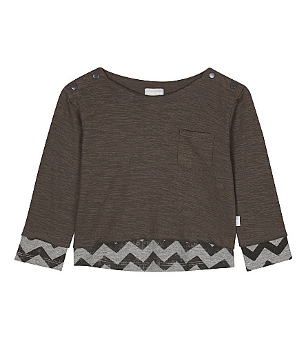 THE LITTLE TAILOR Long-sleeved printed cotton top 0-36 months (R+charcoal