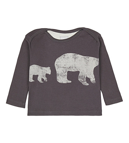 THE LITTLE TAILOR Polar bear cotton top 0-36 months (R+charcoal