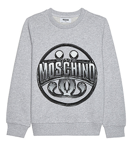 MOSCHINO Logo cotton jumper 4-14 years (Melange+grey