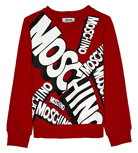 MOSCHINO Logo print cotton jumper 4-14 years (Poppy+red