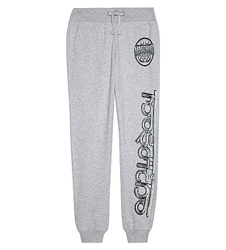 MOSCHINO Logo cotton tracksuit bottoms 4-14 years (Melange+grey