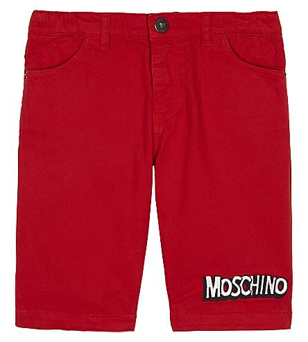 MOSCHINO Bubble logo cotton shorts 4-14 years (Poppy+red