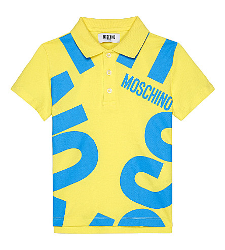 MOSCHINO Blown up logo cotton polo shirt (Lemon+yellow