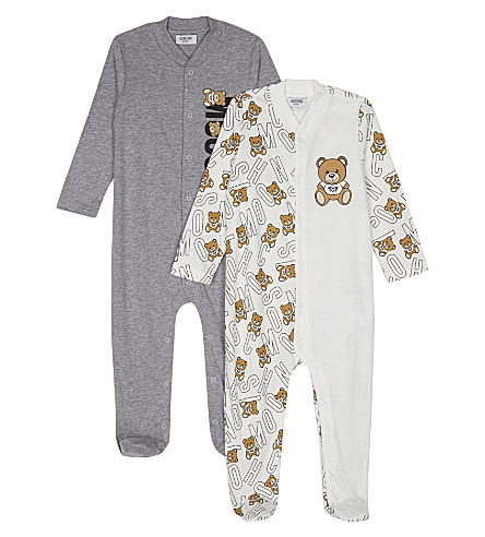 MOSCHINO Teddy print cotton babygrow set 1-12 years (White/grey