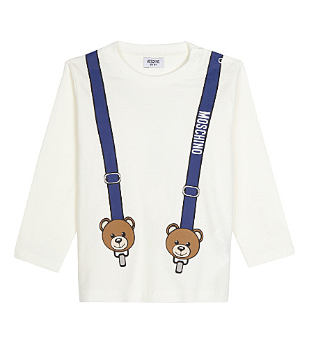 MOSCHINO Teddy bear braces long-sleeved top 3-36 months (White