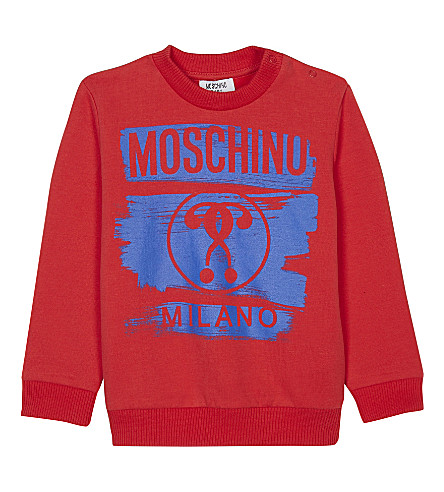 MOSCHINO Logo print cotton jumper (Red