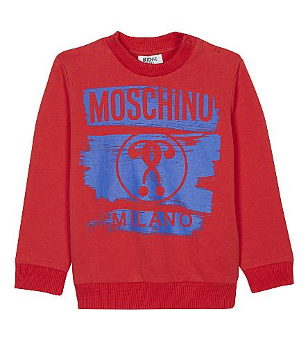 MOSCHINO Logo print cotton sweater (Red