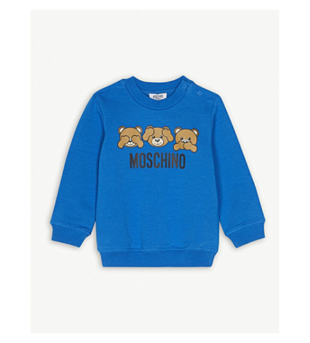MOSCHINO Teddy bear crew cotton-blend sweatshirt 6-36 months (Blue