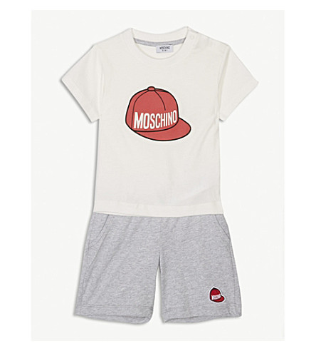 MOSCHINO Logo print cotton T-shirt and shorts set 6-36 months (White