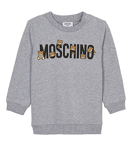 MOSCHINO Teddy bear print cotton jumper 3-36 months (Grey