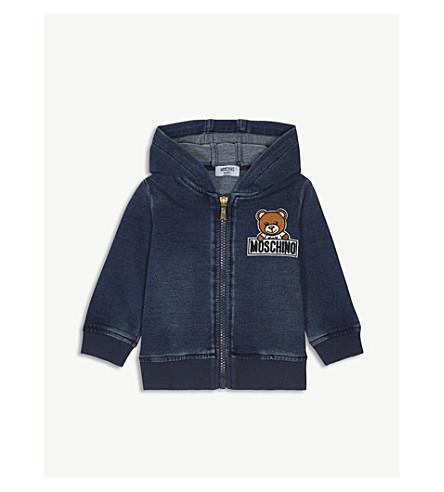 MOSCHINO Bear-embroidered denim hoody 6 months-3 years (Denim