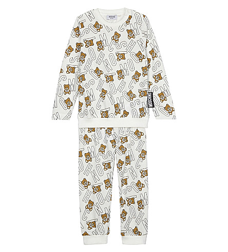 MOSCHINO Teddy bear and logo print cotton track suit 3-36 months (White