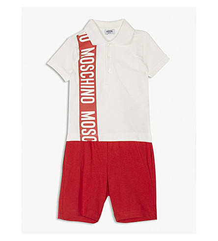 MOSCHINO Logo print cotton polo shirt and shorts set 6-36 months (Red