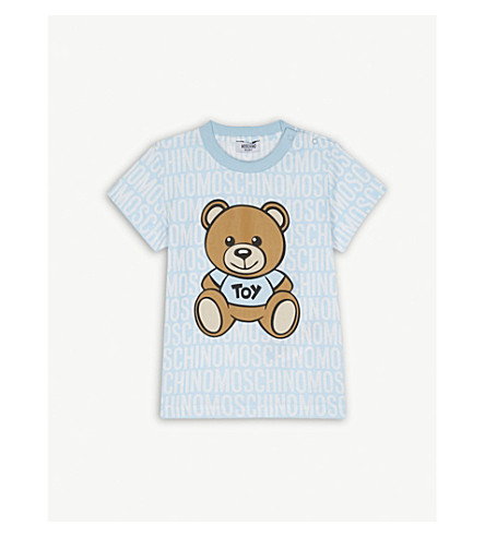 MOSCHINO Teddy bear logo cotton t-shirt 6-36 months (Blue