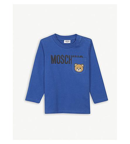 MOSCHINO 熊口袋棉 T 恤 6-36 月 (蓝色