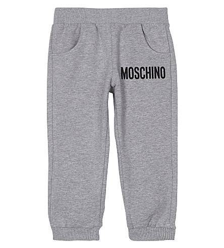 MOSCHINO Logo print cotton track pants 3-36 months (Grey