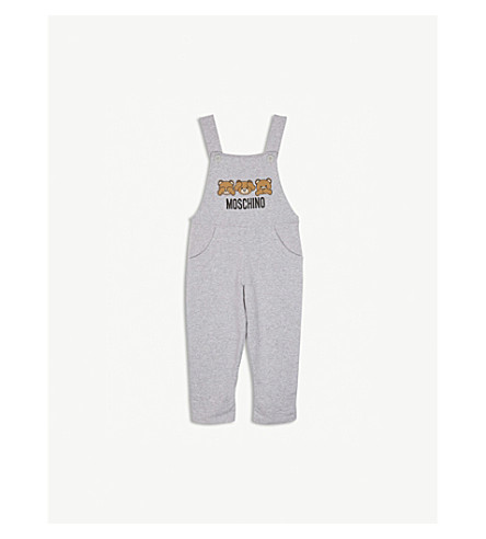 MOSCHINO Teddy bear print cotton-blend dungarees 6-36 months (Grey