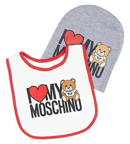 MOSCHINO I Love teddy-print bib and hat set (White/grey